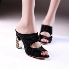 Women Summer Peep Toe Slides Sexy High Heels Slippers Crystal Party Shoes Lady