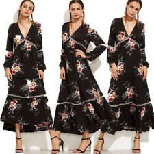 Ladies Womens Long Sleeve Maxi Dress Party Evening Full Length Gown Floral Dress