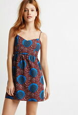 NWT Forever 21 Sexy Mini Spaghetti Strap Floral Dress Size XS/L Brown Blue