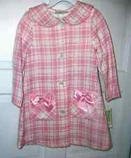 Bonnie Jean Pink & White Dress with Matching LS Coat  6  6X  NWT New