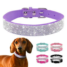 Bling Rhinestone Suede Leather Pet Dog Collar Diamante for Dogs XS S M Chihuahua