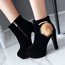 Women Ankle Boots Platform High Heels Round Toe Zip Ball Winter Shoes Ladies