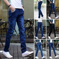 Fashion Men's Slim Fit Straight Washed Denim Pants Trousers Casual Long Jeans