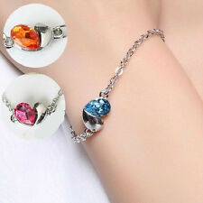 NEW Love Heart Crystal Bracelet Silver Women Fashion Jewellery Cuff Vintage Gift