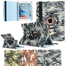 For iPad Mini 1 2 3 4 Luxury Military Leather Case Smart Cover 360 Swivel Stand
