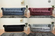 Chesterfield 3 Seater Sofa Crushed Velvet Fabric Button Back Settee Vintage Seat