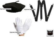 Supreme French Mime Artist Fancy Dress Costume Beret Braces Gloves Deluxe Set