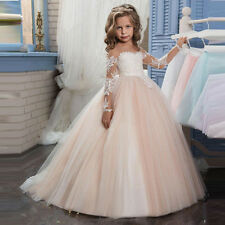New Puffy Lace Flower Girl Dress for Weddings Long Sleeves Communion Gown 2017