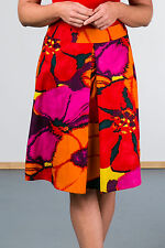 Bright Floral Print A-line Skirt with front pleat and fully lined