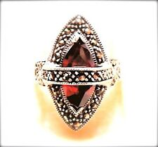 (SIZE 6,7,8,9) GARNET STONE RING Marquise Stone .925 Marcasite STERLING SILVER