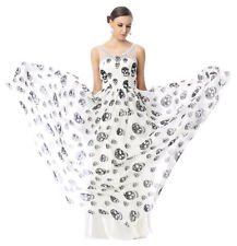 2017 Skull Print Long Evening Cocktail Party Homecoming Halloween Dresses Gown