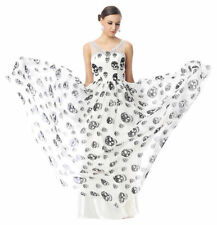 2018 Skull Print Long Evening Cocktail Party Homecoming Halloween Dresses Gown