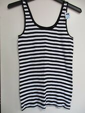 OLD NAVY Black & White Stripe Tank Top Ribbed Cami Shirt NEW  NWT'S