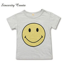 Baby Boys Girls Casual Summer T Shirt Smiley Cotton Kids Children Fashion Outfit