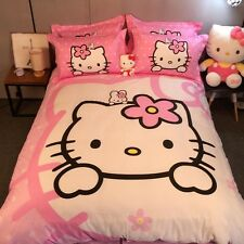Hello Kitty Bedding Set Bedclothes Bed Sheets Duvet Covers Cotton Woven 500TC