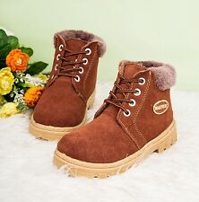 Childrens Genuine Leather Winter Boots Boy Girls Ankle Boots Waterproof Sneakers