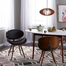 Accent Chair Set Modern Curved Design Bonded Leather Solid Wood Legs & Metal 2Pc