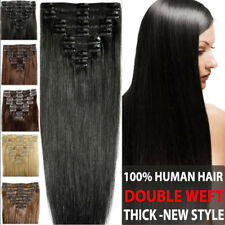 UK Double Weft Soft Thick Hair Clip In Remy Human Hair Extension Full Head LIN82