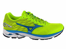 NEW MENS MIZUNO WAVE RIDER 20 RUNNING SHOES SAFETY YELLOW / ATOMIC BLUE / BLUE