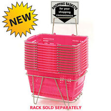 "12 Pc New Pink Hand Held Jumbo Shopping Basket 20""W x 13.75""D x 10""H"