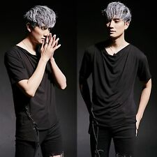 Men Chic Black Asymmetric Hem Cowl Neck Draped Side Lace-Up Tied Top Tee T-Shirt