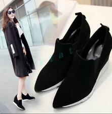 Womens Fashion Suede Leather Sneakers Point Toe Oxfords Sport Ankle Boots Shoes