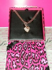 NEW JUICY COUTURE PAVE HEART CHAIN LINK NECKLACE YJRU7515~ NIB