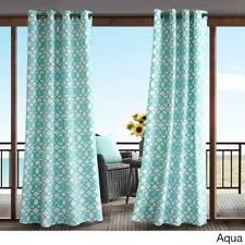 Indoor Outdoor Modern Aqua White Scroll Filigree Grommet Curtain Panel Privacy