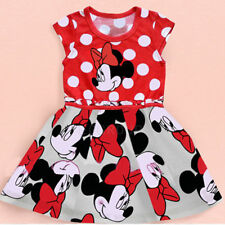 For 1~6 Years Baby Girls Kids Cotton Cute Dot Mickey Minnie Mouse Party Dress