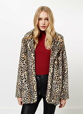 Miss Selfridge Faux Fur Leopard Animal Print Coat Vtg S M UK 6 8 10 12 14 BNWT