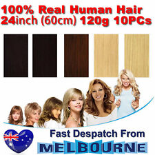 Clip In Remy Real Human Hair Extensions 24inch 120g Full Head on Black Blonde Br