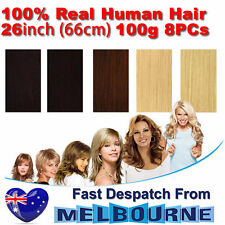 Clip In Remy Real Human Hair Extensions 26inch 100g Full Head on Black Blonde Br