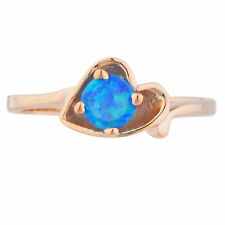 14Kt Rose Gold Plated Blue Opal Round Heart Shape Ring