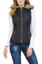 Auliné Collection Womens Quilted Zip Up Lightweight Fur Hooded Padding Vest
