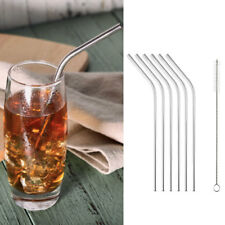 6pcs sets Stainless Steel Tea Drinking Straws Party Smoothies Thick Drink Straw