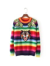 Womens Colorful Striped Floral Cat Embroidered Knitted Jumper Sweater SML