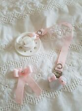 REBORN BABY DOLL~BABY PINK & WHITE LOVE HEART~MAGNETIC~DUMMY CLIP~HAIR BOW