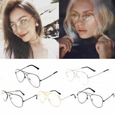 Unisex Big Round Metal Frame Clear lens Vintage Retro Geek Oversized Glasses ty6