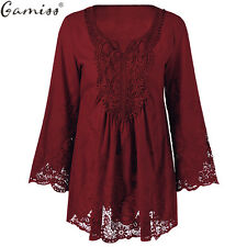 Blouse Lace Floral Crochet Top Shirt Women Long Sleeve Sheer Embroidery Retro
