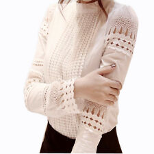 Women Lace Blouse Hollow Out Tops Shirt Long Sleeve Crochet Shirts Ladies Summer