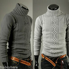 Men's Knitted Roll Turtle Neck Pullover Jumper Knitwear WINTER Woolen Sweater