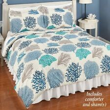 💗 ALL SIZES Nautical Coral Reef Comforter Set Shells Fish Ocean Bedding Blue