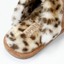 Women's LAMO APRES Sheekpskin Scuff Slippers Chestnut /Leopard Size Medium New