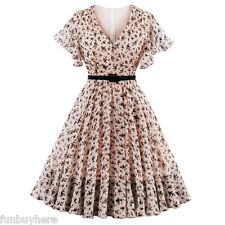 1950s Rockabilly Retro Dress Pinup Housewife Retro Floral Cocktail Swing Dress