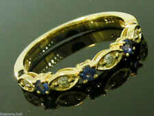 R103 Genuine 9K Solid  Gold Natural Sapphire & Diamond Eternity Ring Trilogy