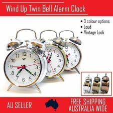 Vintage Retro Wind Up Loud Twin Bell Alarm Clock Mechanical Table