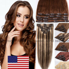 8Piece Clip in Hair Extension FULL HEAD 100% Real Remy Human Hair Highlight B720