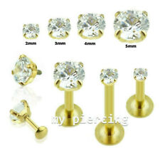 """1PC Gold Plated Internally Threaded C.Z. Labret Cartilage Tragus 16g~1/4""""- 3/8"""""""