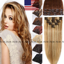 100% Real Human Hair FULL HEAD Clip in Remy Hair Extensions 8PCS Highlight B752