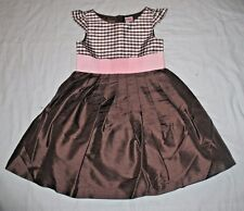 NWT Gymboree Celebrate Spring 100% Silk Bow Gingham Brown Dress Girls 3 4 5
